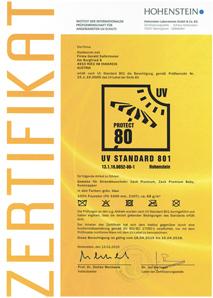 UV80Zertifikat Scan Bild für Shop 214x300 Kinder & Baby Pop up Strandmuschel &Reisebett Zack Premium Baby