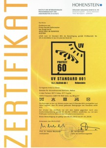 Zertifikat UV60 Hohenstein 216x300 Strandmuschel Helios
