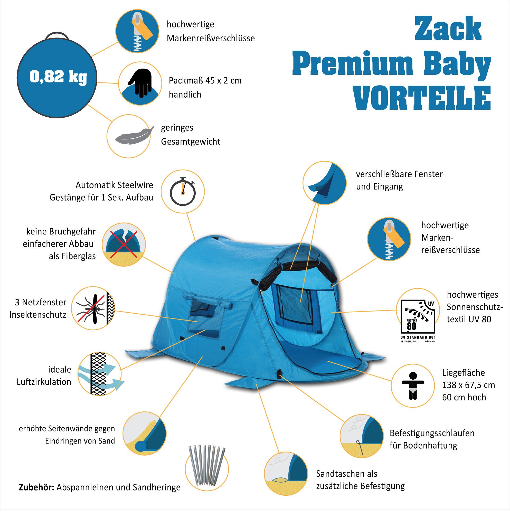 zack premium baby vorteile Kinder & Baby Pop up Strandmuschel &Reisebett Zack Premium Baby