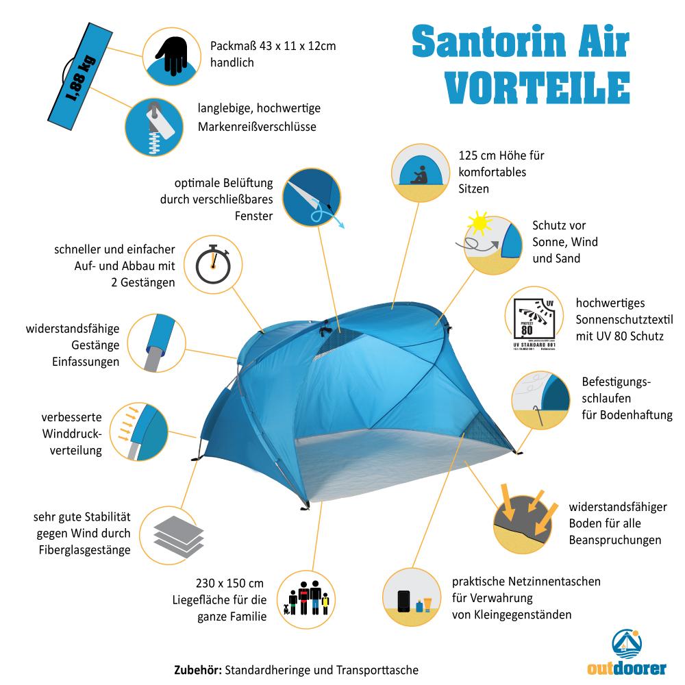 Produktvorteile XXL Strandmuschel Santorin Air