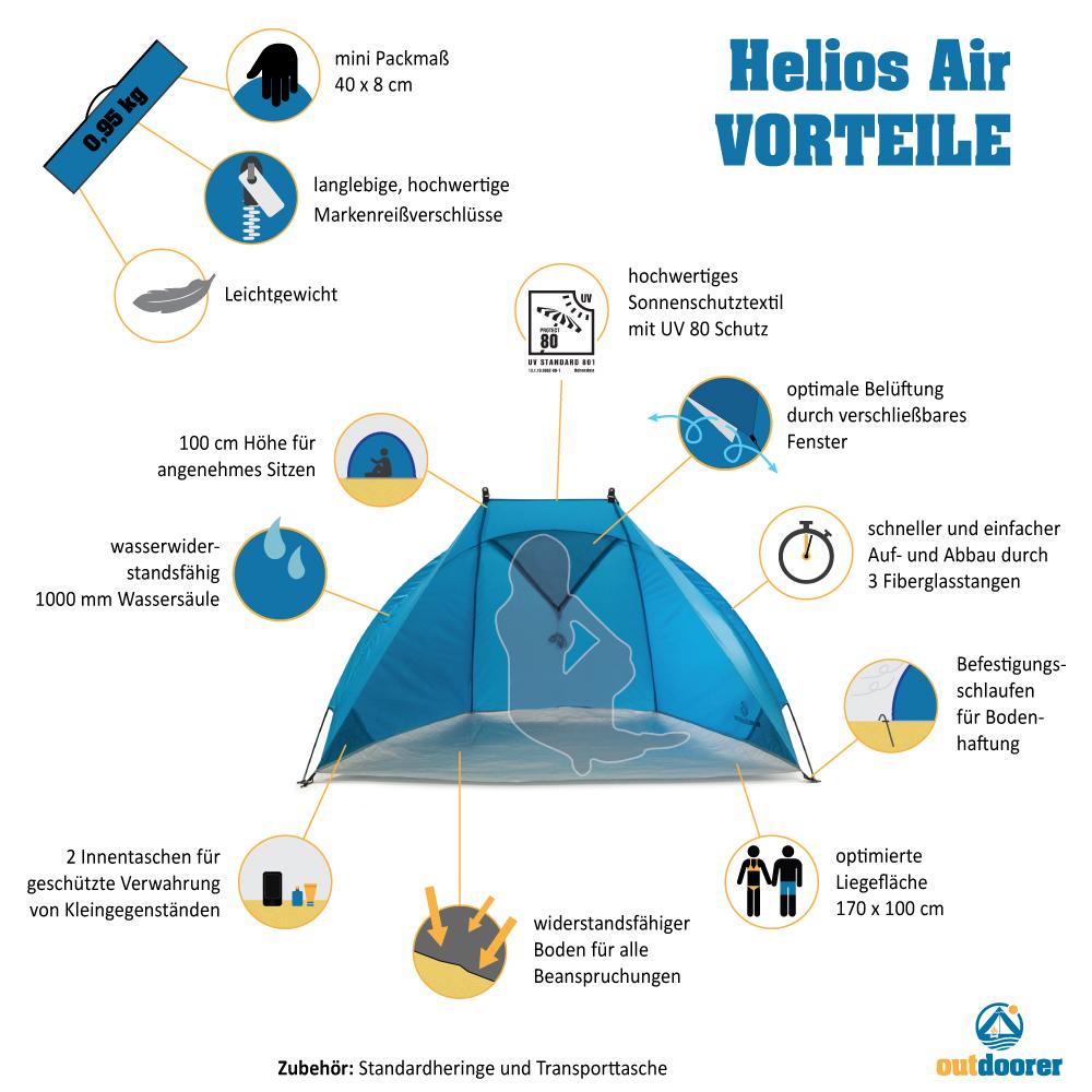 Reisestrandmuschel Helios Air - Vorteile