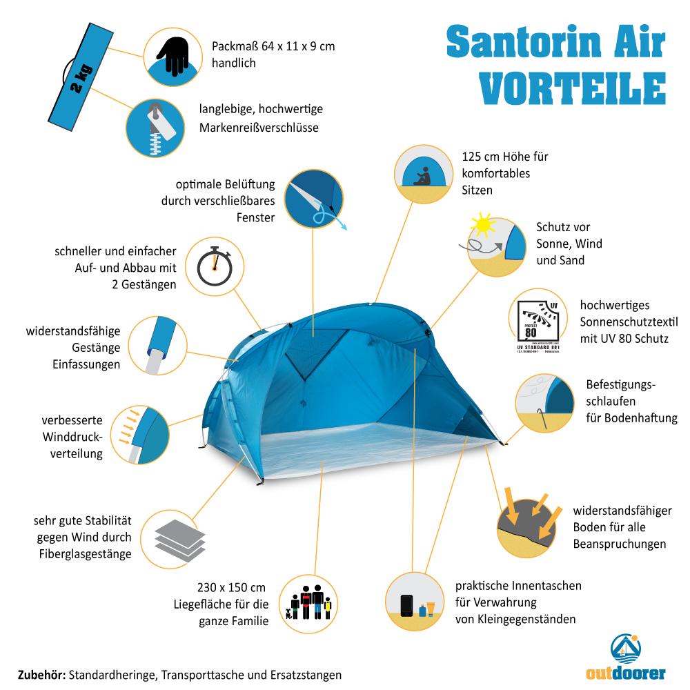 XXL Strandmuschel Santorin Air - Vorteilsgrafik