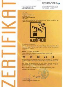 UV Schutz Zertifikat Hohenstein 2019
