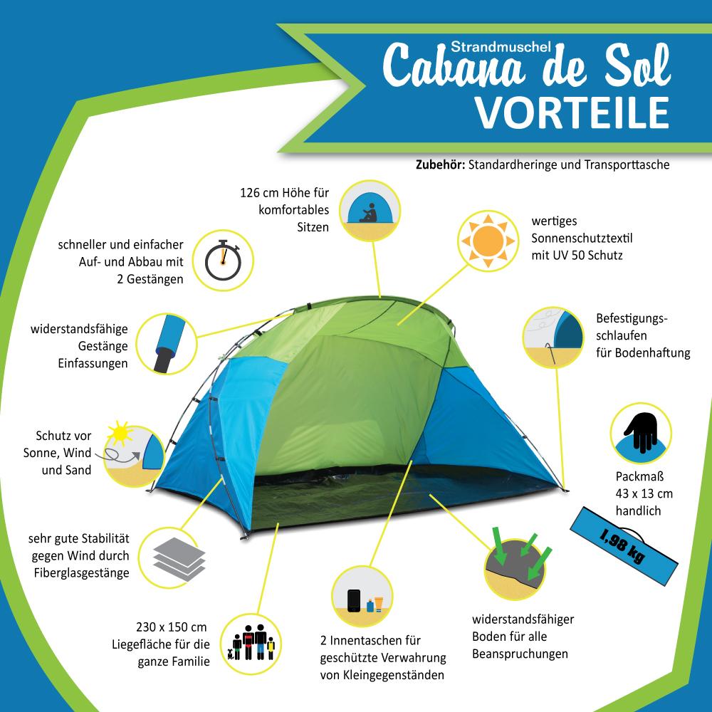 Strandzelt XXL Cabana de Sol Vorteile